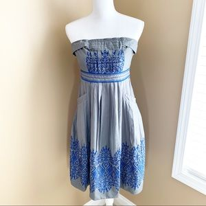 Anthro FLOREAT Dress sewing circle pleat Embroider